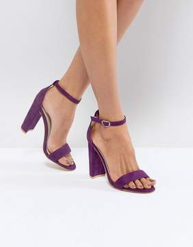 Glamorous Purple Barely There Block Heeled Sandals