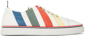 Thom Browne White and Multicolor Diagonal Stripe Sneakers