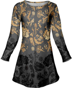 Azalea Gray & Mustard Floral Scoop Neck Tunic - Plus