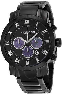 Akribos XXIV Akribos Black Dial Chronograph Black PVD Stainless Steel Men's Watch