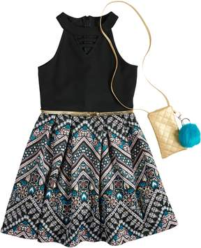 Knitworks Girls 7-16 & Plus Size Belted Halter Skater Dress with Necklace & Crossbody Purse
