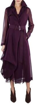 Akris Majesty Belted Silk Georgette Trench Coat, Purple