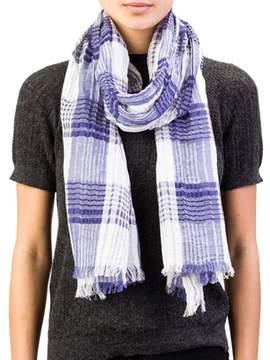 Versace Women's Checkered Pattern Cotton Linen Blend Scarf Large Blue/white.