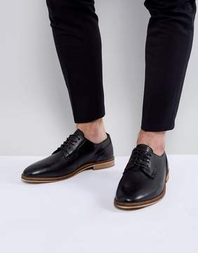Asos Lace Up Derby Shoes In Black Leather With Natural Sole