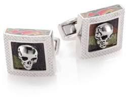 Tateossian Camoflauge Skull Leather Cuff Links