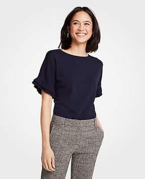 Ann Taylor Ruffled Short Sleeve Sweater