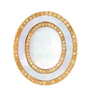 Frederic Sage 18k Yg Double Oval White Mop and Yellow Sapphire Tivoli Ii Ring