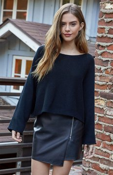La Hearts Slouchy Cropped Pullover Sweater