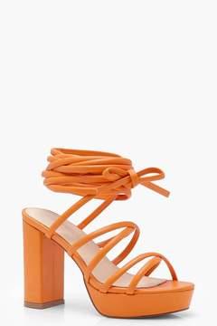 boohoo Cross Strap Tie Up Platform Heels