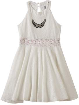 Knitworks Girls 7-16 Lace Halter Skater Dress with Necklace