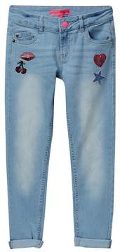 Betsey Johnson Sequin Patch Skinny Jeans (Big Girls)