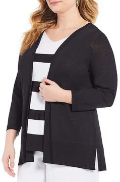 Allison Daley Plus 3/4 Sleeve Pullover Fooler Cardigan