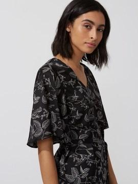 Frank and Oak Printed Satin V-Neck Dress in True Black