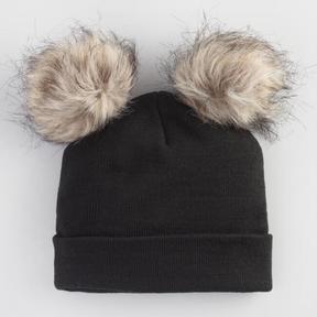 World Market Black Knit Hat with Faux Fur Poms