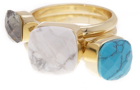 Ariella Collection Simple Stone Stackable Ring Set - Set of 3