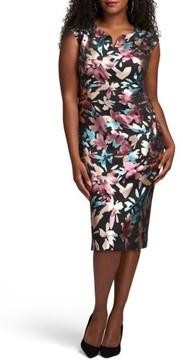 ECI Plus Size Women's Floral Print Scuba Midi Sheath Dress