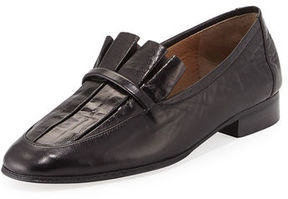 The Row Adam Pleated Leather Loafer