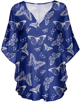 Lily Navy & White Butterfly V-Neck Tunic - Women & Plus