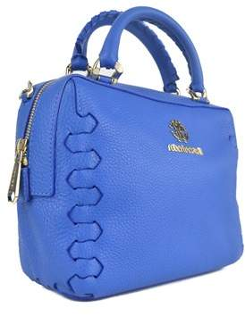 Roberto Cavalli Blue Small Grained Leather Top Handle Shoulder Bag