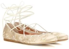Etro Embroidered satin ballerinas
