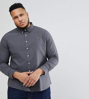 Farah PLUS Brewer Slim Fit Oxford Shirt in Charcoal