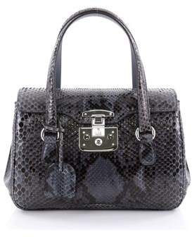 Gucci Pre-owned: Lady Lock Satchel Python Small. - BLUE - STYLE