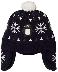Absorba Navy Penguin and Snowflake Knit Hat