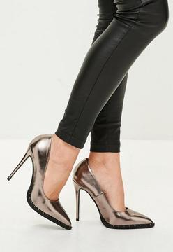 Missguided Grey Studded Sole Pumps