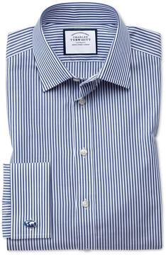 Charles Tyrwhitt Slim Fit Bengal Stripe Navy Blue Cotton Dress Shirt French Cuff Size 15/33