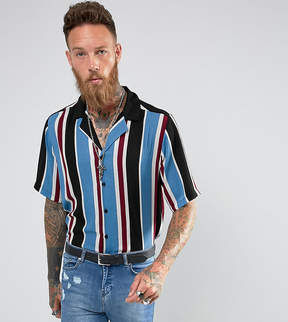 Reclaimed Vintage Inspired Revere Shirt With Short Sleeves In Stripe Reg Fit