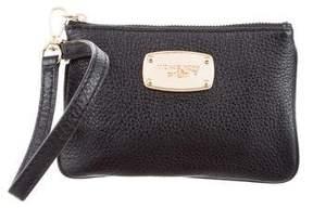 MICHAEL Michael Kors Leather Zip Wristlet - BLACK - STYLE