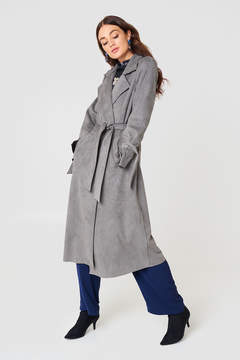 NA-KD Na Kd Faux Suede Bonded Trenchcoat