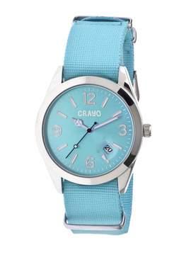 Crayo Sunrise Turquoise Dial Turquoise NATO Nylon Ladies Watch