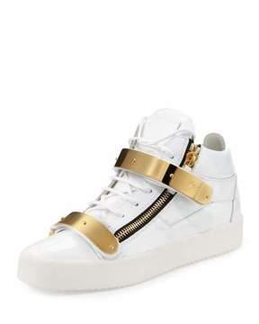 Giuseppe Zanotti Double-Strap Patent Mid-Top Sneaker, Gold/White