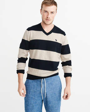 Abercrombie & Fitch Striped Icon V-Neck Sweater