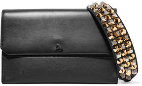 Christian Louboutin Loubiblues Studded Smooth And Textured-leather Clutch - Black