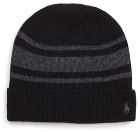 Polo Ralph Lauren Men's Rugby Stripe Wool Blend Cap - Black