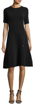 Escada Sequined Chenille Fit & Flare Dress