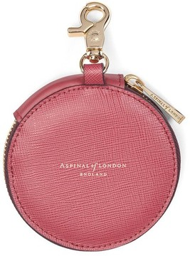 Aspinal of London Round Coin Purse With Keyring In Blusher Saffiano Espresso Suede
