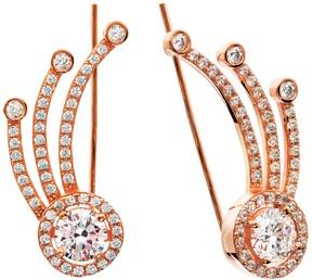 Crislu 18K Rose Gold Plated Bezel Set & Pave CZ Shooting Star Climber Earrings