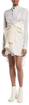 Unravel Long-Sleeve Faux-Wrap Silk Shirtdress