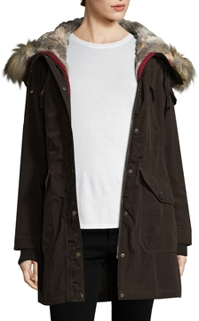 1 Madison Women's Hooded Fur Long Coat