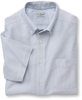 L.L. Bean Wrinkle-Free Classic Oxford Cloth Shirt, Traditional Fit Short-Sleeve University Stripe