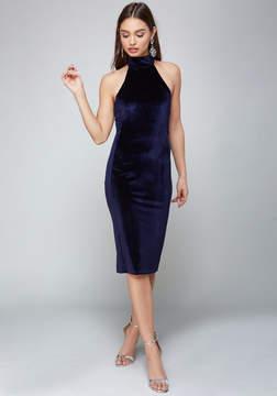 Bebe Velvet Mock Neck Midi Dress