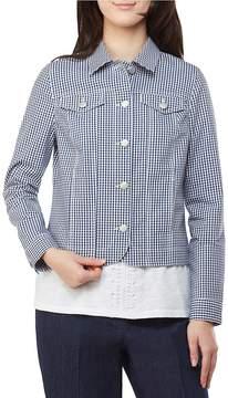 Allison Daley Petites Plaid Print Button Front Denim Jacket