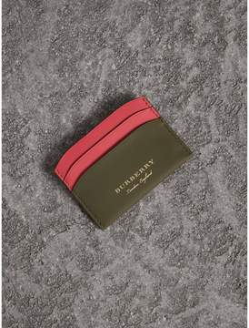 Burberry Two-tone Trench Leather Card Case - MSS GREEN/ BLSM PINK - STYLE