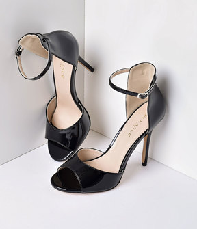 Unique Vintage Black Patent Ankle Strap Amuse Sandal Pumps