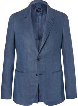 Caruso Blue Butterfly Slim-Fit Unstructured Herringbone Linen Blazer