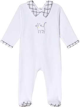 Absorba White Check Collar and Cat Print Babygrow