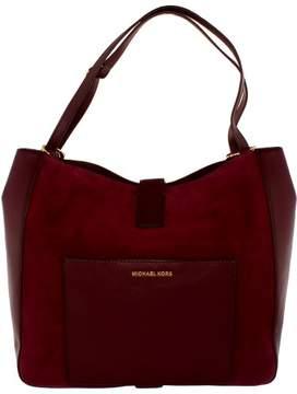 Michael Kors Women's Large Quincy Suede Shoulder Leather Messenger Bag Tote - Plum - PLUM - STYLE